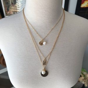 Jewelry - Three layer faux gold necklace with Coin pendants
